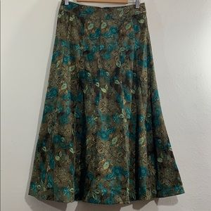 Vintage 70s inspired suede paisley pleated skirt